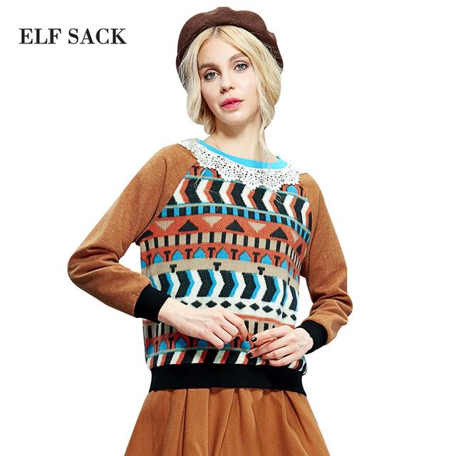 Elf SACK зима вырос женской моды лоскутное сладкий цвет блока кружева свитер