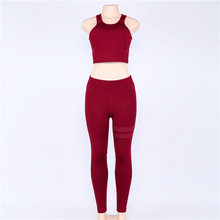2018 Ademend Polyester Patchwork Sporting Femme Bodysuit Playsuit Sexy Panty Fitness Stretch Vrouwen Leggings Crop Top Set(China)