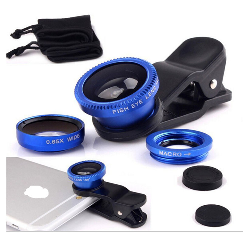 blue 3 in 1 Fish Eye Wide Angle Macro Fisheye Lens Lente Mobile Phone Lens For iPhone 4 5 6 Samsung galaxy note Camera Len(China (Mainland))
