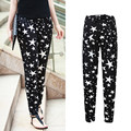 2016 summer new arrival elastic waist plus size women pants casual loose stars printing skinny pants