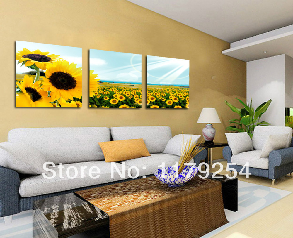 3 pieces free shipping modern sunflowers canvas art print for Modern home decor pieces