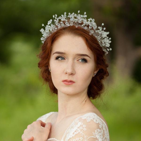 Beautiful!!! Luxury 100% Handmade Tiara Crown Bridal Wedding Headband Headpiece Evening Prom Hair Comb Jewelry HCJ609(China (Mainland))