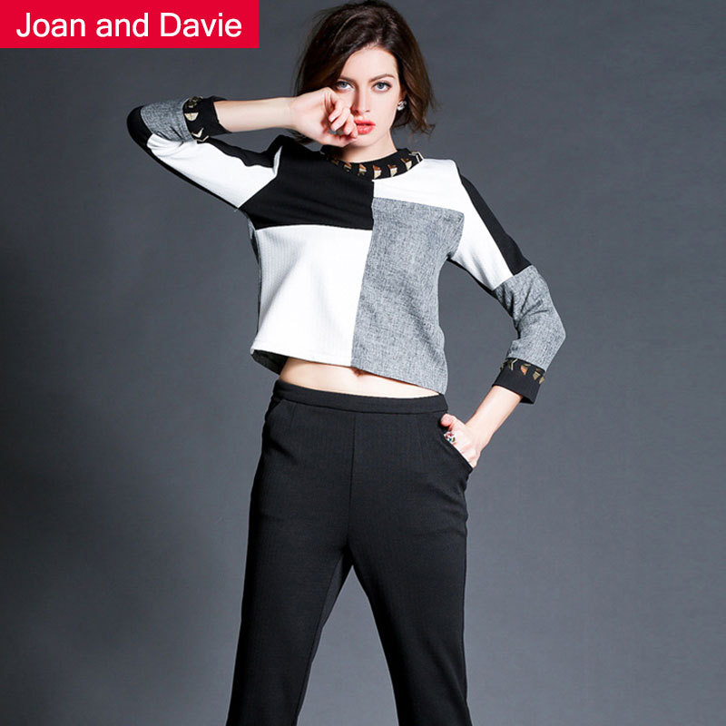 2015 Women's sets new fashion spring / summer high street three quarter sleeve black white tops casual trousers - Joan and Davie store