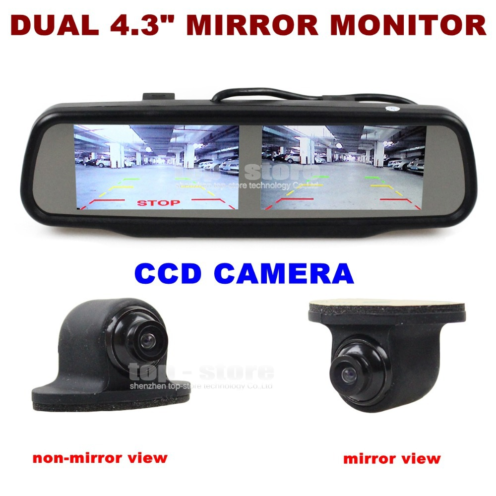DIYKIT Dual Screen 4.3 inch TFT LCD Rear View Car Mirror Monitor + HD CCD Camera Rear/ Front / Side - Jo Store store