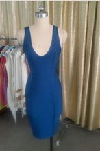 Kedatangan baru kualitas tinggi biru v neck backless bandage dress, 2015 gaun selebriti, Drop grosir, Shipping merah / putih