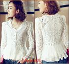New 2015 Fashion Women White Lace Blouse Chiffon Shirt Blusa Renda Ladies V-Neck Women's Tops Long Sleeve Patchwork Shirts
