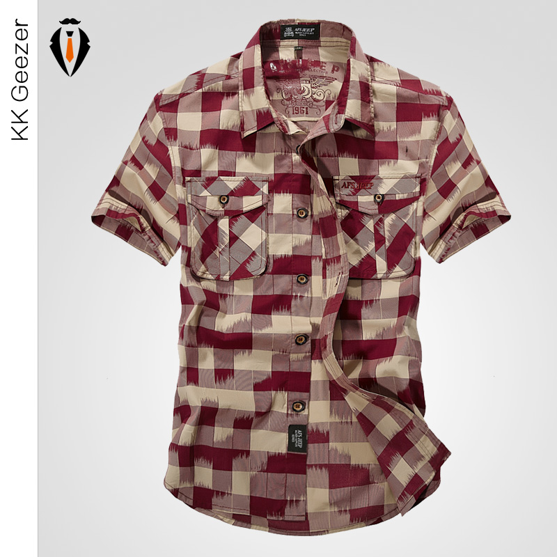 2016 Top Quality Fashion Men Casual Military Plaid Short Sleeve Cotton Shirts Loose Dress Shirt Summer Army Brand Outdoor Sport(China (Mainland))