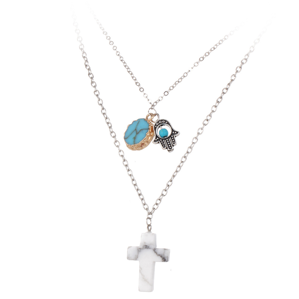 Hand of Fatima Cross Moon Heart Design Etsy Women Necklace Charms Turquoise LOVE Pendant Necklace Accessories Jewelry For Women(China (Mainland))