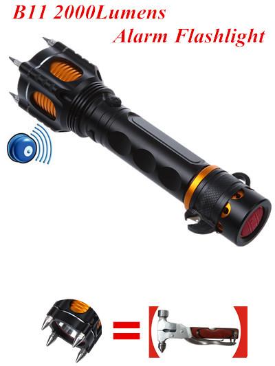 2000 lumens alarme lampe de poche auto d fense cree lampe de poche led torch mat riel de. Black Bedroom Furniture Sets. Home Design Ideas