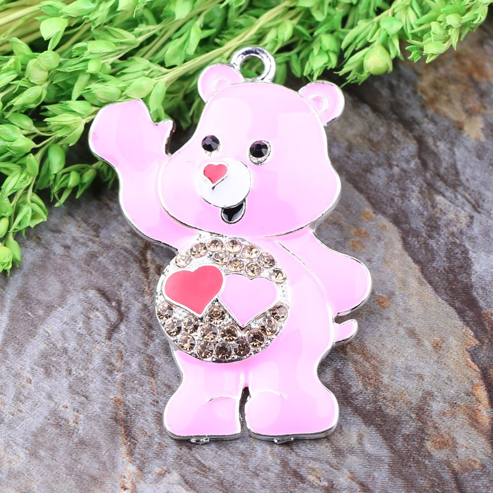 Free Shipping Cute Rhinestone Pendants Cartoon Pink Teddy Bear Pendant Fashion Accessories Figure Charms 10Pcs/Lot<br><br>Aliexpress