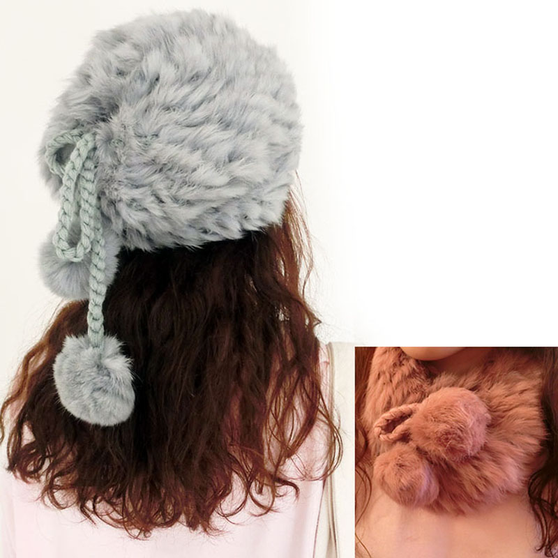Scarf White Knitted Rabbit Fur Hat Nature Winter Skullies & Beanies Winter Women Knit Beanie Hat Cap Real Rabbit Fur Scarf(China (Mainland))