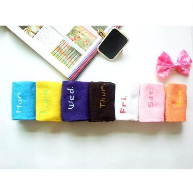 [CPA Free Shipping] Wholesale Fashion Weekday Socks Fancy From Monday To Sunday / Womens Cotton Socks 7 pair/set (SM-40)