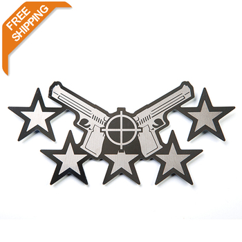 $7.99 Free Shipping  stainless steel pistol& star emblem easy peel & stick installation  Car Ornament Conclear Sticker T20457