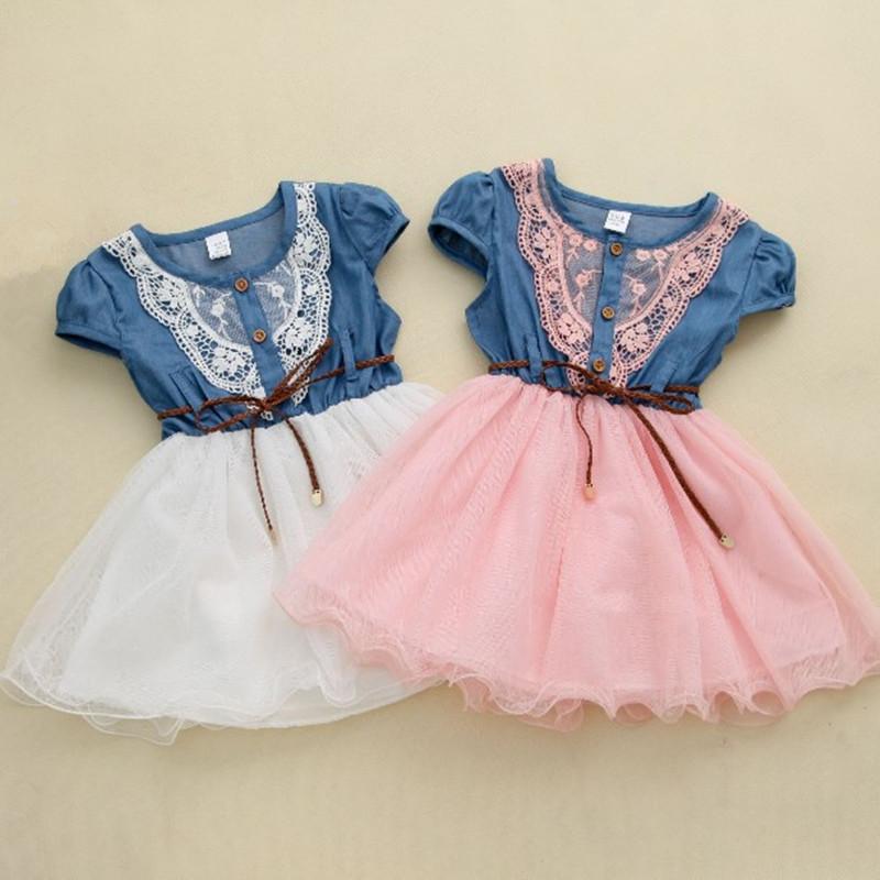 Гаджет  2014 hot sale  new fashion Girls baby Lace Belt tutu cowboy dress children Patchwork dresses for girl  None Детские товары