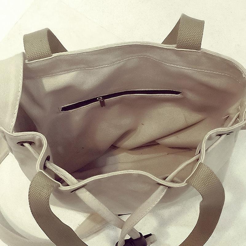 Womens Korean Style Canvas Drawstring Shoulder Bag