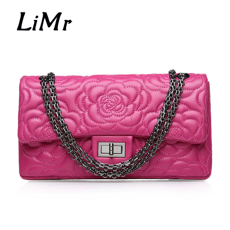 LiMr Genuine Leather Messenger Bags New Embroidered Fashion Sheepskin Leather Women Shoulder Bags Solid Chain Lady Crossbody Bag