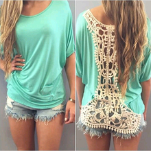 Fashion Summer  Women  Party  Evening  Casual Lace loose  T-shirt  NS177