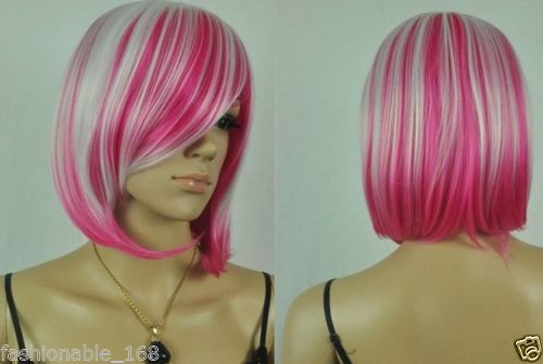 RH0046 Harajuku white and pink red short wig  (D Special discount 35%)<br><br>Aliexpress