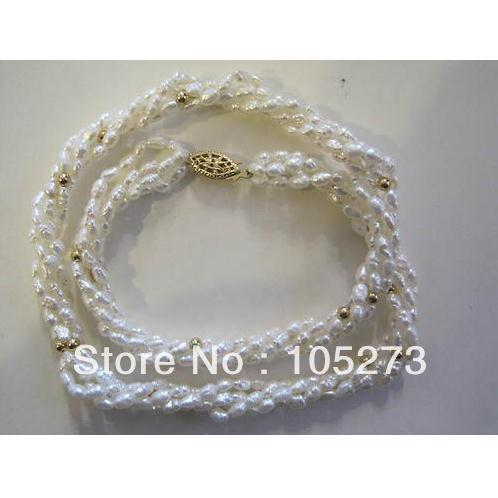 Charming Natural Pearl Jewelry 4 Strand Rice Shaper White Color Freshwater Pearl Necklace 18'' Wholesale New Free Shipping