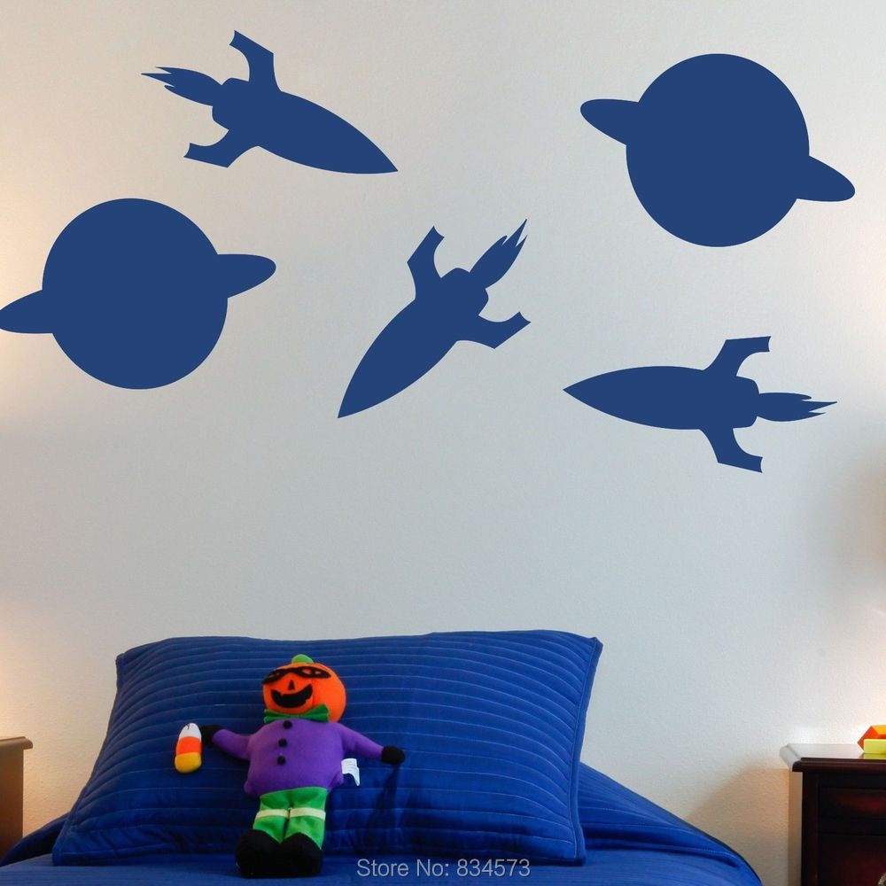 Space Planet Rocket Silhouette Wall Art Sticker Decal Wall Art Home Decoration Wall Stickers Removable Room Decor Wall Stickers()