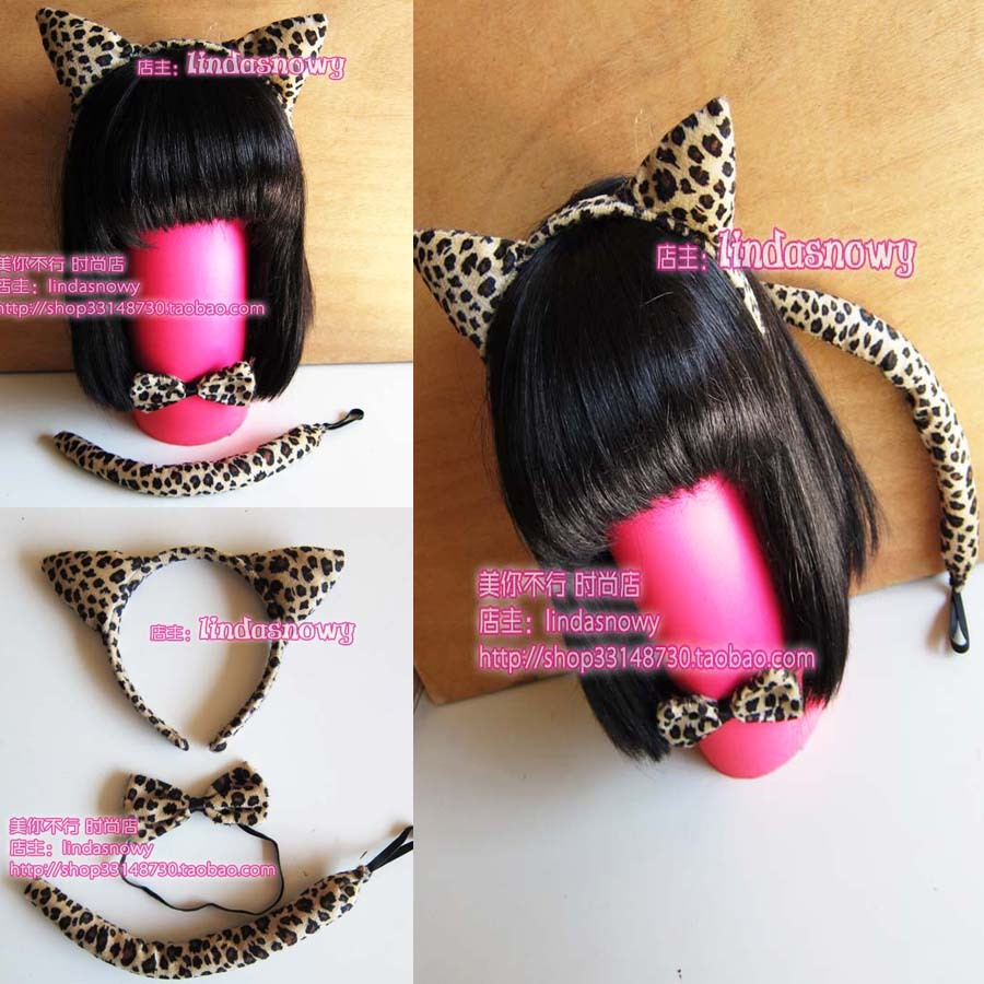 Cos props animal piece set hair accessory headband hair bands ears leopard print