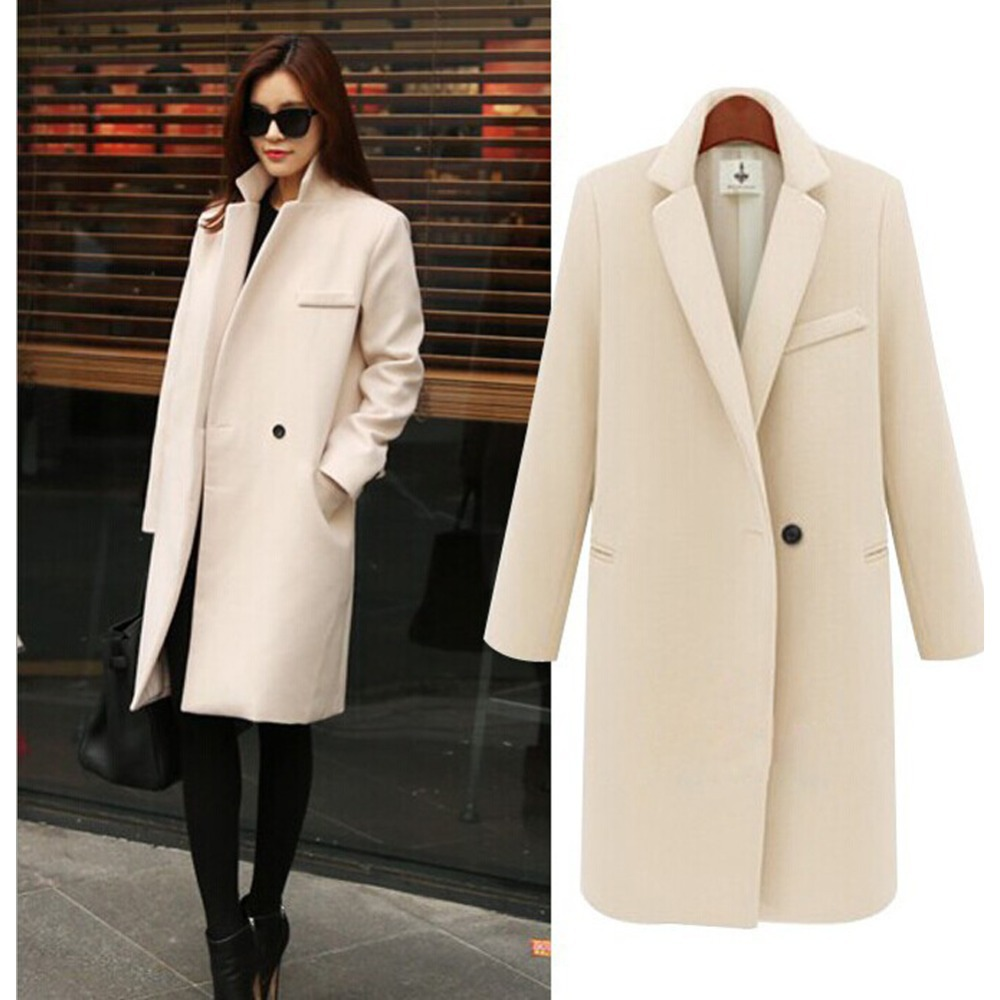 2015 Autumn Winter Coat Women Pink/Black/Beige Single Button Turn-Down Collar Casual Worsted Outerwear Coat Manteau Femme(China (Mainland))