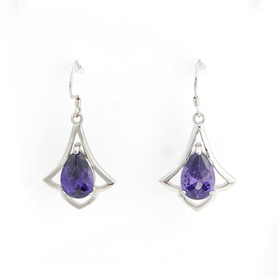 2015 Brand New Beautiful Fashion Jewelry 925 Silver Drop Water Earrings Purple Zircon Stone Plated Earrings(China (Mainland))
