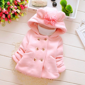 Autumn Spring Baby Girls Sweet Long Sleeve Hooded Jackets Kids Infant Princess Outerwear Coats ropa de ninas