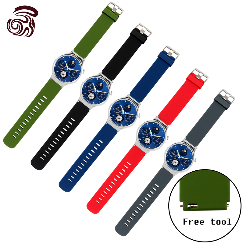 21*18mm high quality rubber watch band for Huawei with stainless steel buckle silicone strap(China (Mainland))