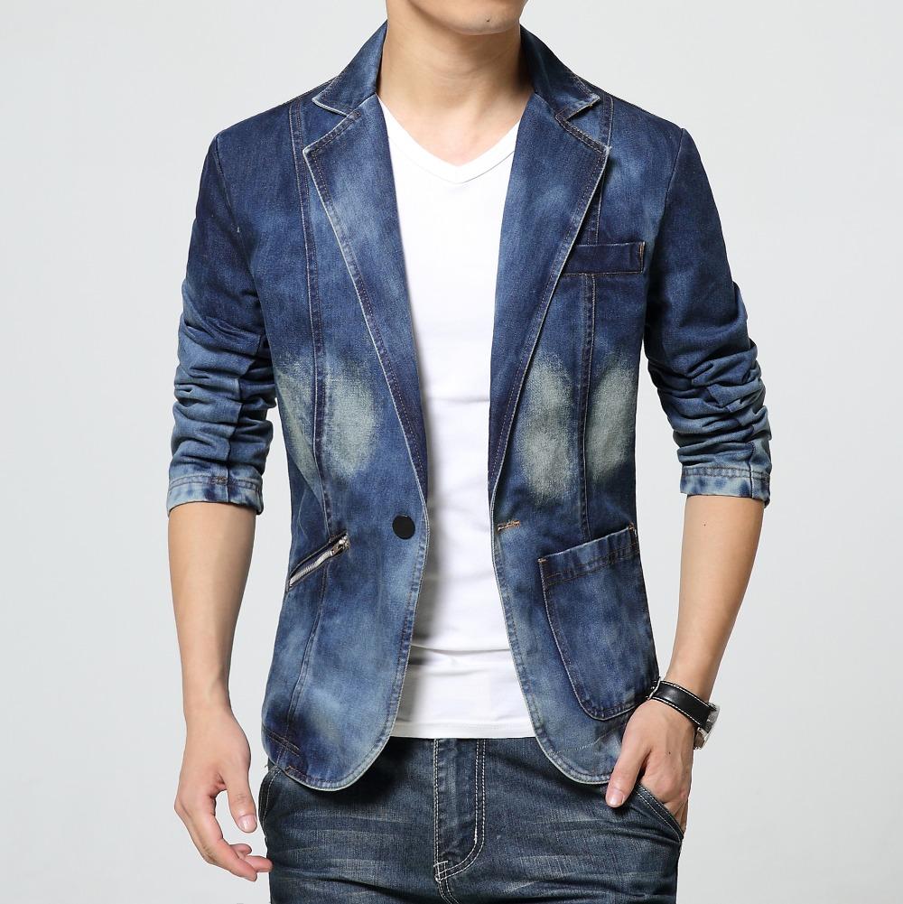 Mens Casual Blazer Jeans Coat Denim Jacket Slim Fit New 2015 Cotton Hombre Autumn High Quality ...