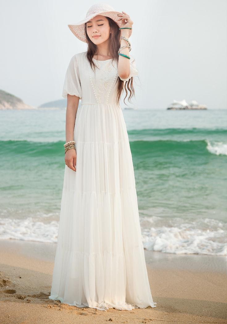 2014 Summer Maxi Chiffon Bohemian Beach Long white Dress ...