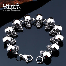 Buy 2017 New Cool Punk Difference Size Skull Bracelet Man 316 Stainless Steel Man's High Jewelry BC8-036 for $12.58 in AliExpress store