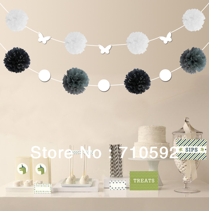 DIY Graffit Butterfly-Shaped & Circles Card +Pom Poms String Flower Hanging Paper Garland Home Wedding Birthday Showers Favors(China (Mainland))