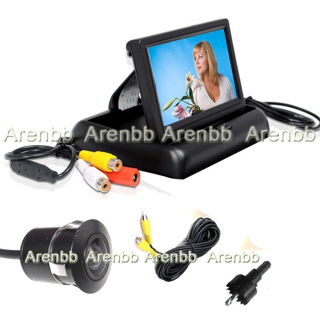 4.3 INch Foldable LCD car Monitor +Embeded car  camera car back up camera Rearview Car Camera ccd hd camera system