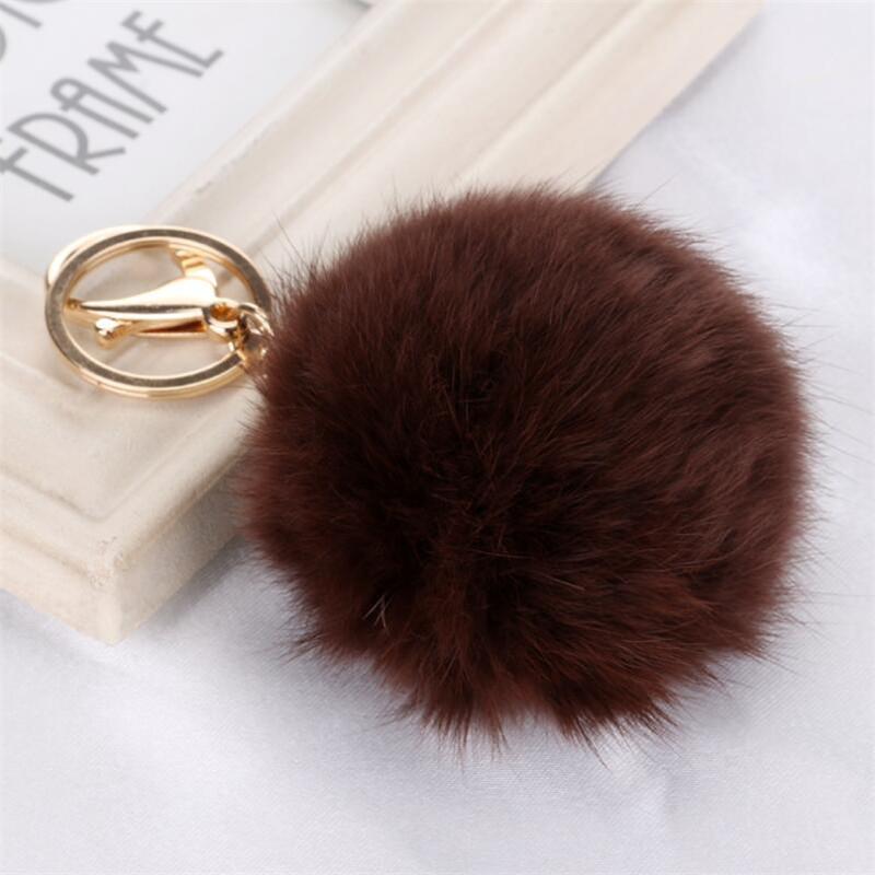 Handbag Charm Real 8 cm Rabbit Fur Ball Keychain Blue Red Furry Ball Keychains Popular Fuzzy Ball Keychain Bag Charms For Women(China (Mainland))