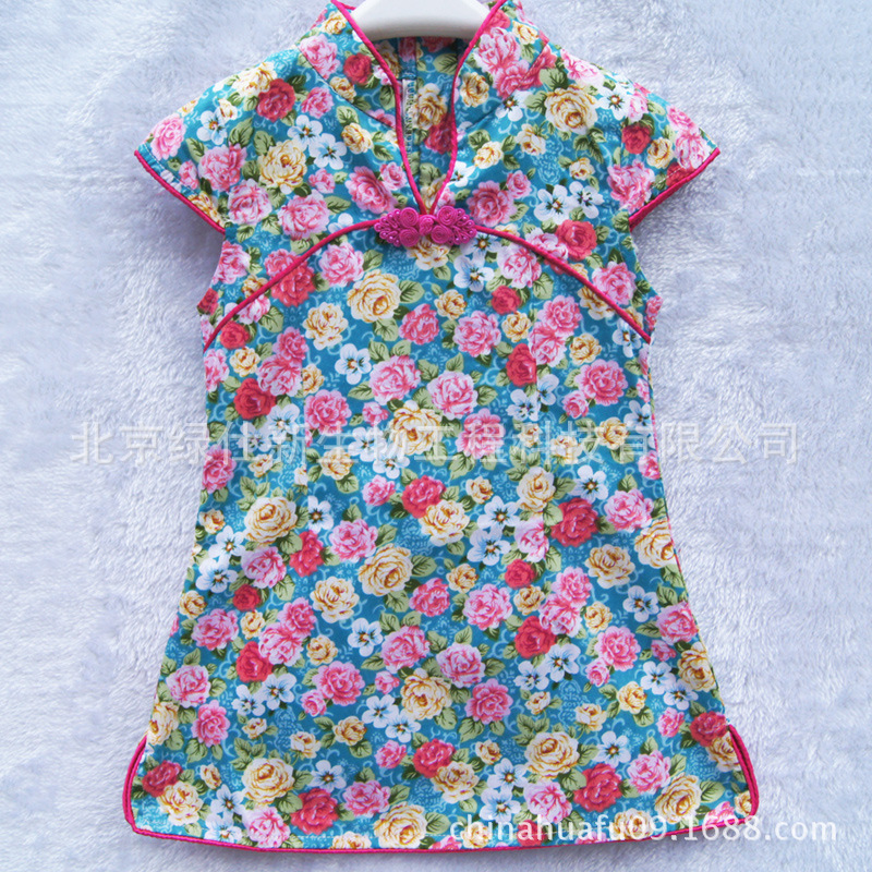 Free shipping New year offer New arrive Traditional Chinese kid child girls' dress cheongsam kid girl Chinese style cloth(China (Mainland))