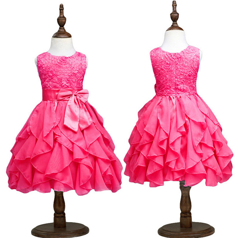 2016 Baby Girl Party Wear Dresses Vest Infant Party Dress Flower Leaves Girl Tutu Dresses Princess Kids Dress Children Clothing(China (Mainland))