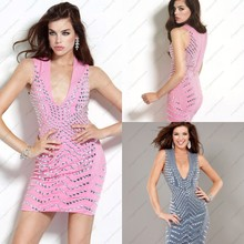 Sexy Plunge V Neck Beased Sheath Pink Cocktail Dress Vestido De Festa Curto Cocktail Dresses Silver Mini Prom Party Gown(China (Mainland))