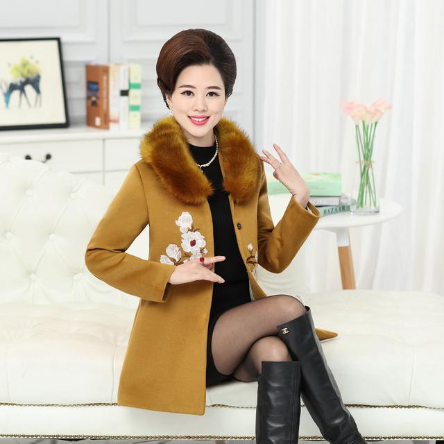 Меховой воротник XL для 4XL Толстые Теплые зимы женщин шерсти пальто 2017 Крытая Кнопка Бленды хлопка мыс плюс размер куртки famale