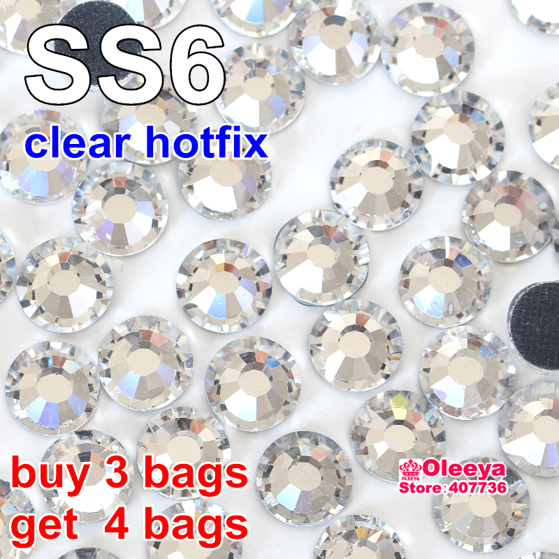 Buy 3 Bags Get 4 Bags ! DMC Hotfix Rhinestone SS6 Size 1440pcs/bag White Clear Crystal Color DIY Hot Fix Stones Y2874(China (Mainland))