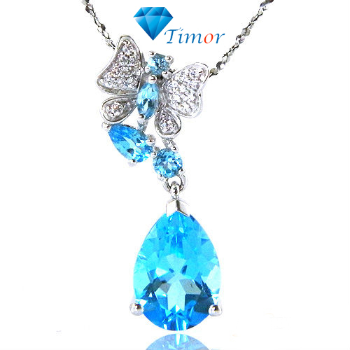 Wholesale Luxury Delicate Fine Jewelry 4.5ct Natural Swiss Blue Topaz Necklaces Pendant 925 Silver Free Shipping