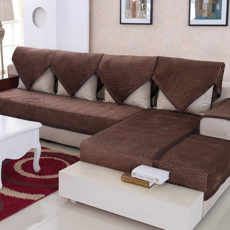 Sofa cover winter thick high grade brown short plush sofa for Brown leather sofa cushion covers