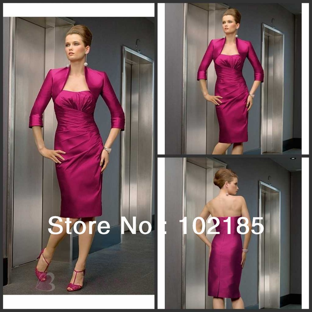 Wholesale Made In China Elegant Taffeta Strapless With First-Class Fabric Tea Length Mother of the Bride Dresses M052(China (Mainland))