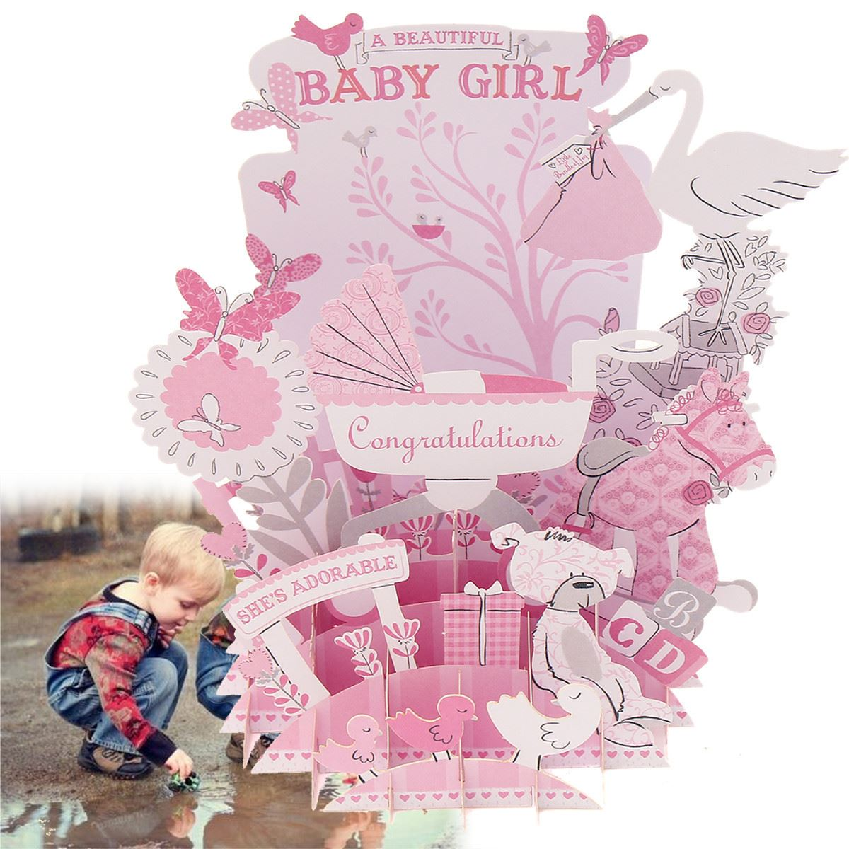 Pink Baby 3D Pop Up Greeting Card Postcard Baby Shower DIY Invitation Card Decoration Crafts Events Party Supplies Favors(China (Mainland))