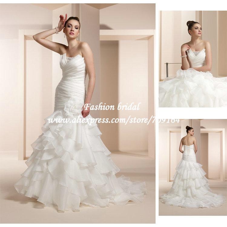 Fashion sexy mermaid corset wedding dress tiered ruffles for Sexy corset wedding dress