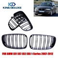 2PCS Glossy Black Double Slat M Look Front Grill Grilles For BMW 1 Series High Quality