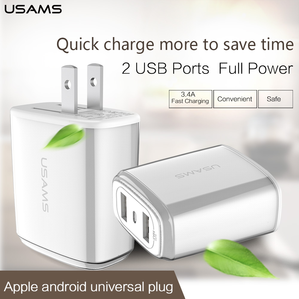 Phone USB Charger USAMS 5V 3.4A Fast Charger US EU Travel Charging USB Wall Moblie Phone Charger for iPhone 5 5s 6 ipad Samsung(China (Mainland))