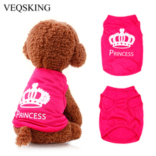 VEQSKING Pet Dog Clothes Lovely Pink Princess Crown Puppy Cat Rabbit Vest Cute T -shirts For Mini Small Dogs XS/S/M/L(China (Mainland))