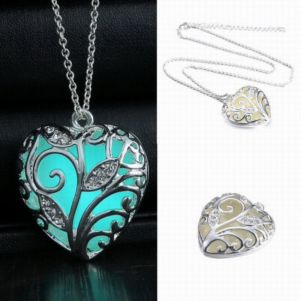 Glowing Luminous Vintage Hollow Necklace Silver Plated Glow In The Dark Pendant Necklaces Tree Leaf collares For Girls Women(China (Mainland))