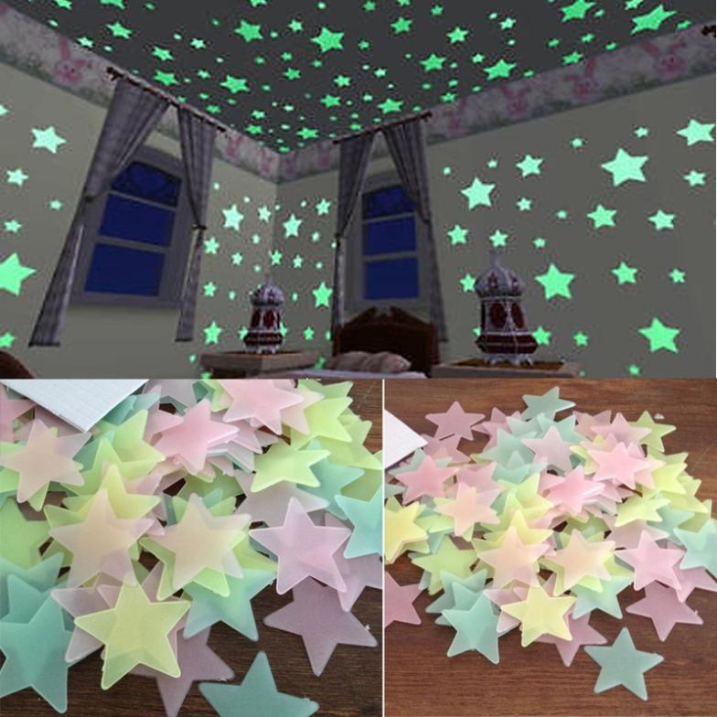 2015 New 100 pcs/ pack Glow In The Dark Plastic Stars Stickers Baby Kids Ceiling Wall Room Nursery room Decal Baby Kids Gift Y1(China (Mainland))